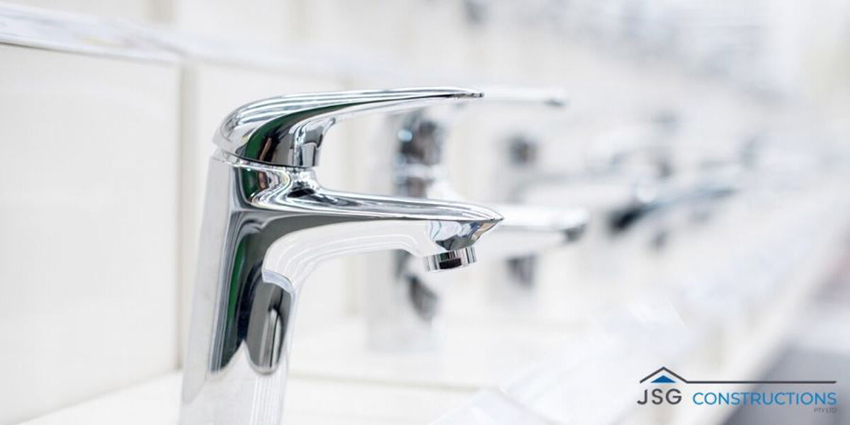 A row of faucet